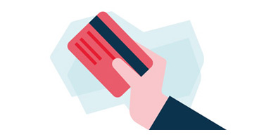 Hand holding red National Bank credit card making Interac transfer by SMS or Email